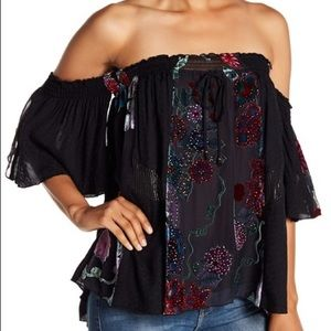 NWT Hale Bob Off The Shoulder Embroidered Top Sm